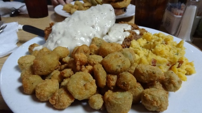 A southern treat! Fried Okra! The Early Bird Diner serves some of the best home cookin' around in the area.