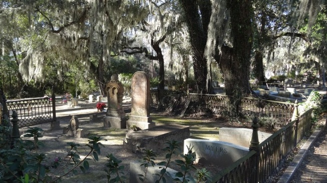 "Midnight in the Garden of Good and Evil was famed for its cover photo depicting the ""Bird Girl"" (since moved to a local museum). The Bird Girl resided right here at the Bonaventure Cemetery."