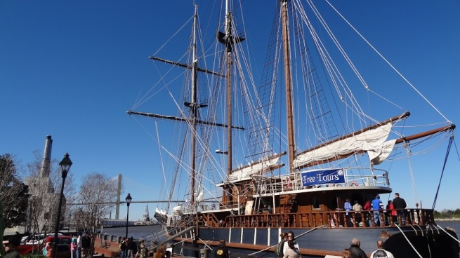 A ship docked on the waterfront of Savannah. Kids were loving this...