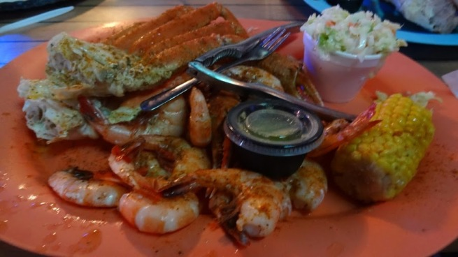Amazing meal of crab and shrimp at Stingray's Seafood in Tybee Island