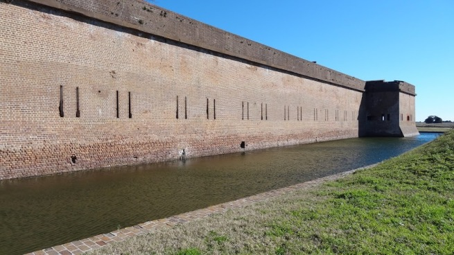 Fort Pulaski's well maintained moat
