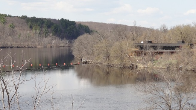 The St. Croix Riverway Visitor Center has a beautiful location in Saint Croix Falls, Wisconsin
