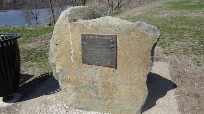A memorial for James K. Polk at the St. Croix Falls lookout. Polk was President when Wisconsin was named the 30th state.