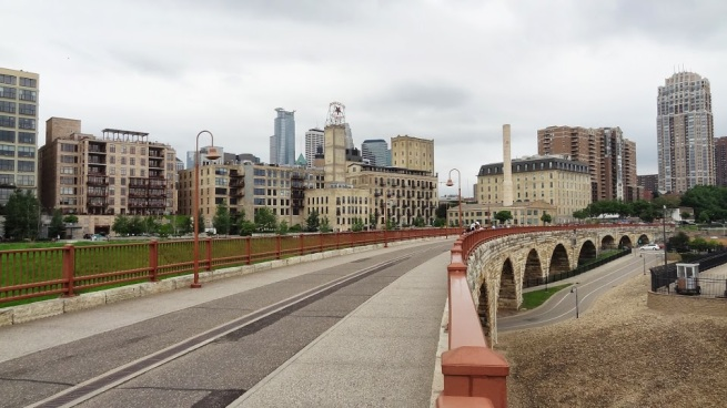 View of the Mills District from the Stone Arch Bridge