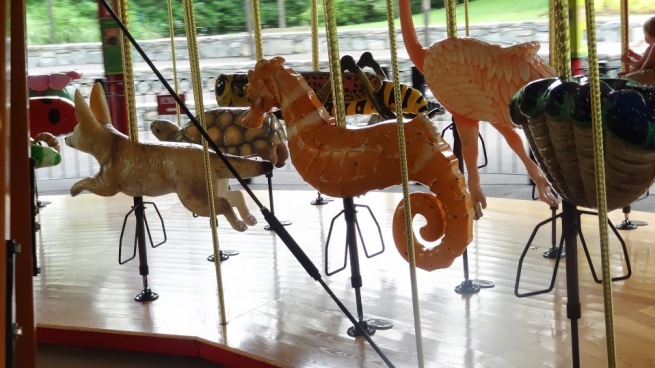 The amazing new Speedwell Conservation Carousel, featuring a wide array of animals - all unique. Definitely worth at least a ride (it's $3 or free with zoo membership coupon)