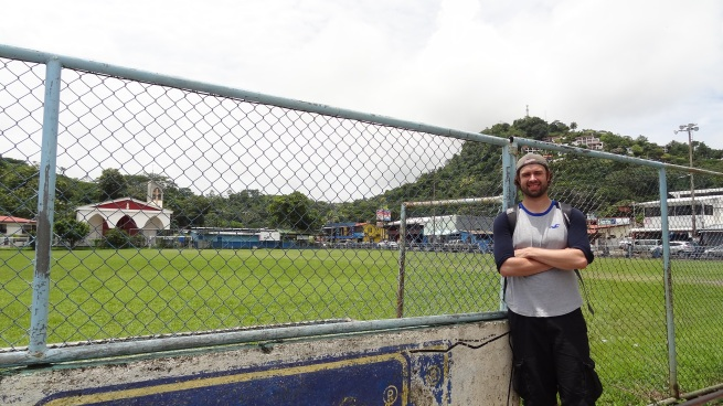 Me by the local soccer field, which was next to the school. Quepos does have a soccer team in the Costa Rican leagues, but it's down in the lower levels of the league pyramid.