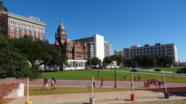 A general view of Dealey Plaza from the area where Abraham Zapruder stood