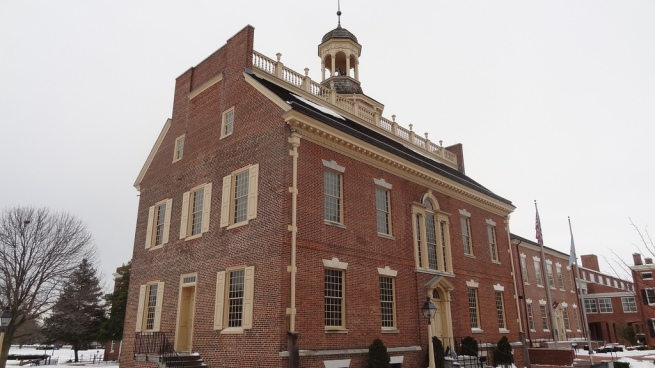The Old State House, the location of the coveted passport stamp