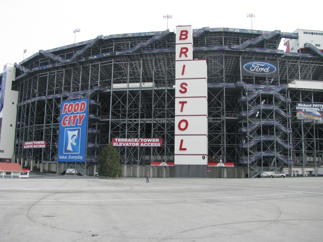 We visited the famous Bristol Motor Speedway in Bristol, TN on our Southern road trip of February 2012. That little speck out there is me.