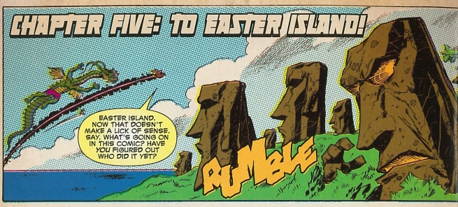 Marvel's beloved anti-hero Deadpool breaks the fourth wall as he arrives on Easter Island. As of this article, this is the most recent example of Easter Island imagery in a comic book. (Deadpool/Marvel/February 2014)