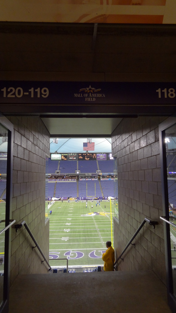 "I remember these first ""glimpses"" of pre-game warmups as a kid. The excitement of being at a big event and seeing the field for the first time. Last time for those butterflies at the Metrodome..."