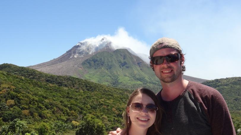 Breeah and I in front of the Soufriere Hills Volcano at the Volcano Observatory