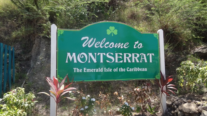 A sign welcoming visitors to Montserrat at the ferry terminal at Little Bay (we came via plane, however)
