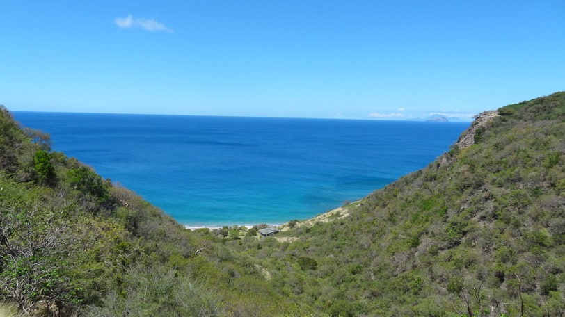 Rendezvous Beach is still about 25 minutes away from us, but here is the view of the beach from the top of the hill