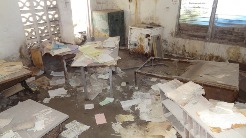 An abandoned office in the Montserrat Springs Hotel
