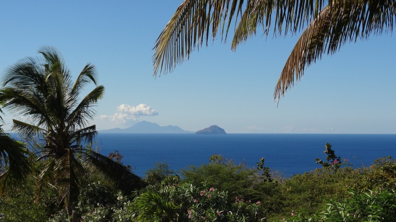 A view of little Redonda (foreground, part of Antigua) and Nevis from our room at Gingerbread Hill.