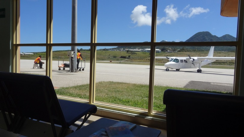I thought you might enjoy seeing a shot from the airport and the small plane we flew to get into Montserrat.