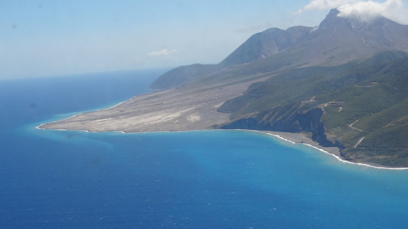 You can see here how Montserrat is growing (thanks to the volcano) as we speak