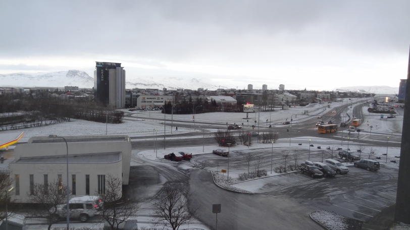 "The view from my hotel room in ""icy"" Iceland."