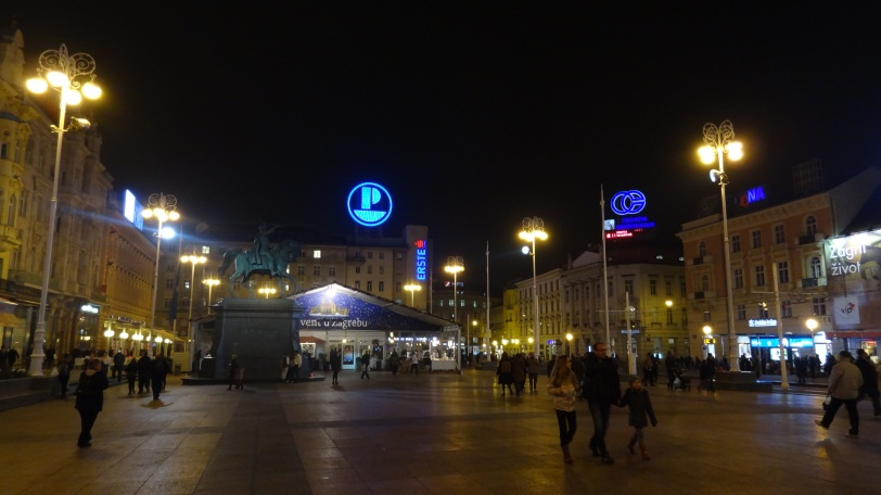 Ban Jelačić Square in Zagreb on the night after my arrival, one day before the deciding game