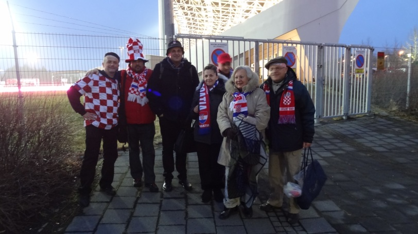 A contingent of Croatian fans before the match in Iceland. The one on the far left, Mario, suggested I contact the Croatian team directly for tickets.