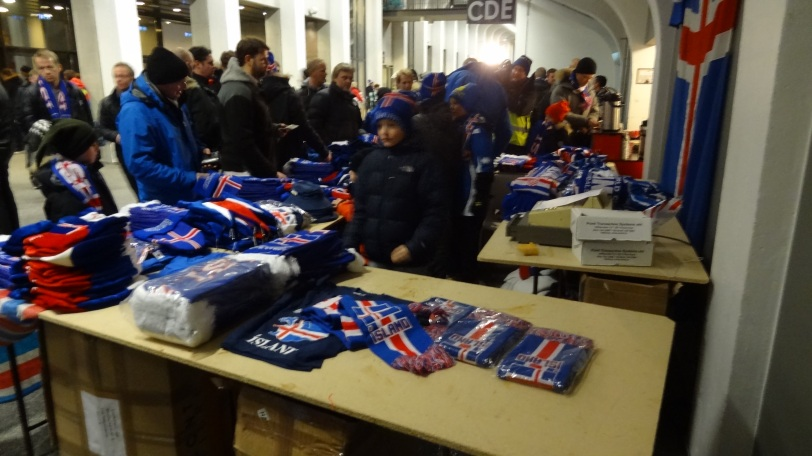 The Iceland merch stand before the game - I bought a scarf that commemorated the contest.