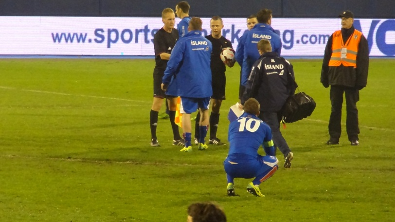 A dejected Gylfi Sigurðsson needed to be consoled after the game. Sigurðsson, Iceland's most notable player in Europe, will likely be a major player in their upcoming Euro 2016 and World Cup 2018 qualification campaigns.