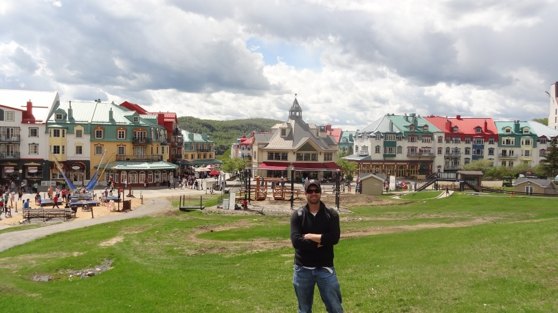 Here I am with most of the Mont-Tremblant resort area behind me...