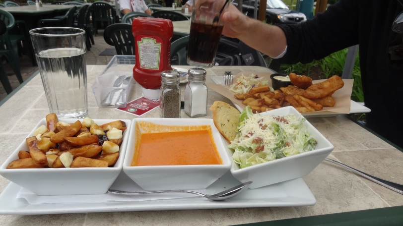 The Fish n' Chips were great, but Breeah did a little better with her trio of poutine, tomato soup and caesar salad