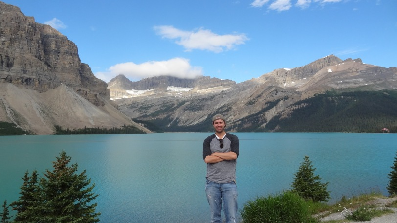 Here's a picture of me at Bow Lake off the Icefields Parkway in Banff National Park...