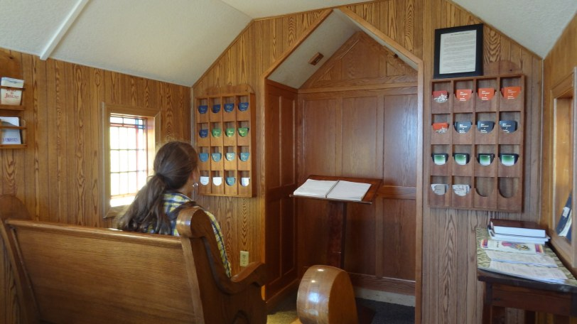 The interior of the chapel. There is just enough room for a service of nine people (including the pastor).