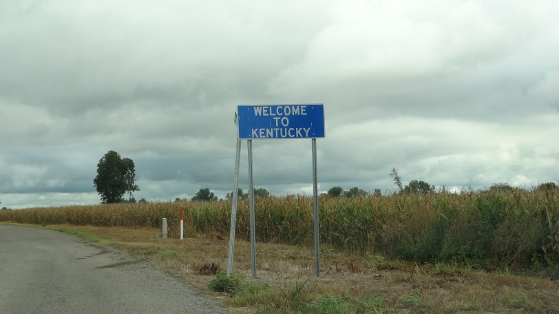 Unbelievably, Kentucky has erected a welcome sign here. I've crossed some remote state border roads before and not even seen signs...