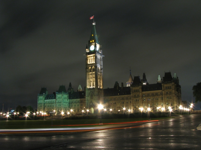 The Parliament, on a drizzly night in early June 2012