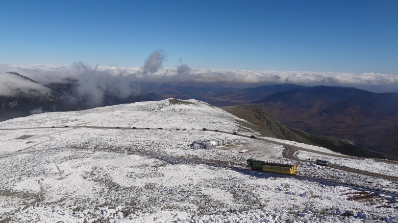 A train descending off the top of Mount Washington