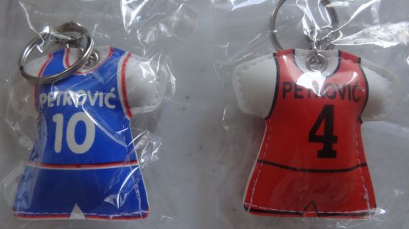 Drazen Petrovic keychains from the Petrovic Museum in Zagreb, Croatia