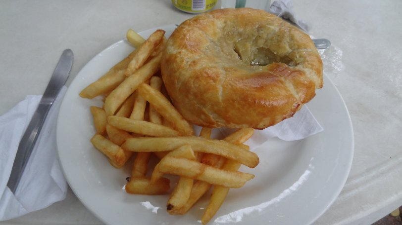 We had some humble, er, pot pie in Cozumel. It was quite good, and quite authentic (as in British)