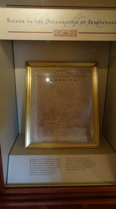 An original replica of the Declaration given to Stone, the major highlight of the tour of the house...