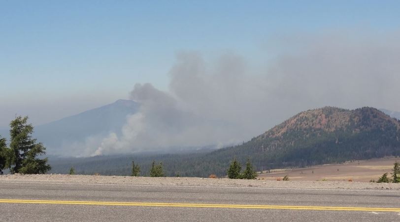 Fires burning just outside of Crater Lake National Park's north entrance...