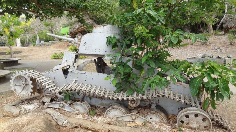 A Japanese tank, overcome now by the Earth, sits at Marpi Point park