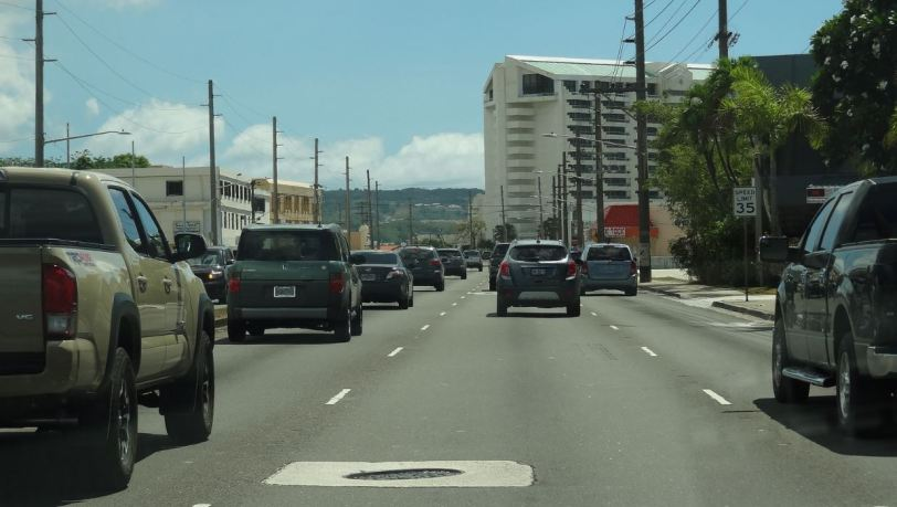 There is actually quite a bit of traffic on Guam, especially at rush hour. Just like the U.S...