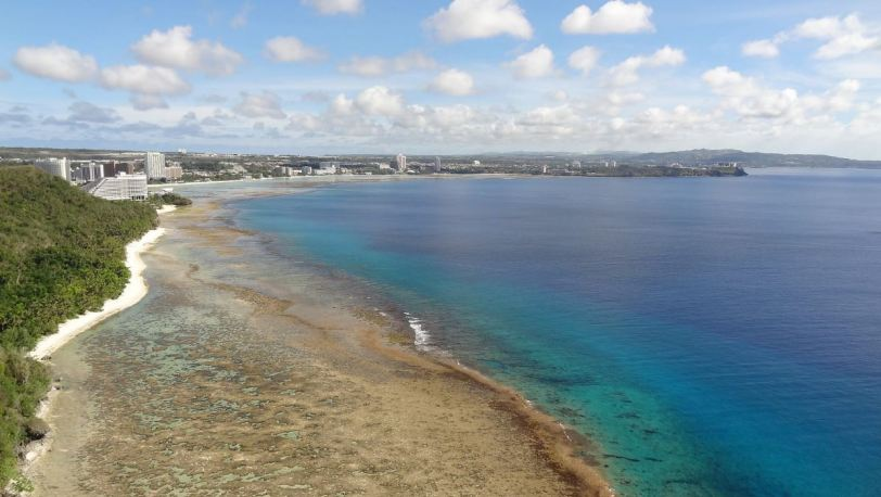 The view from Two Lovers Point, with Tumon Bay (and its hotels) in the background, and FaiFai Beach in the foreground.