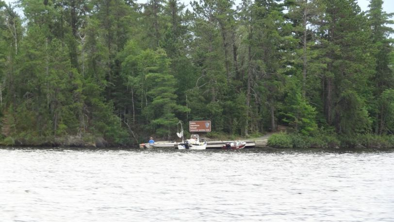 "Little American Island is an island ""enclave"" of sorts, being park-controlled land just outside of the park boundaries. An old mining operation existed on this island and boaters can dock and walk through established trails to visit the site."