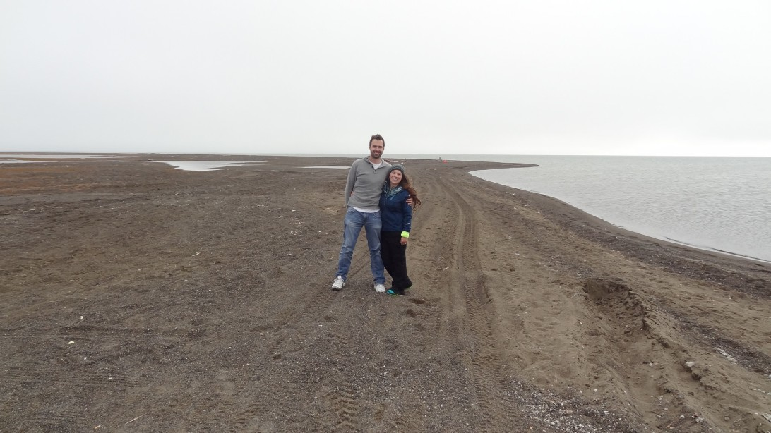 Both of us enjoying a nice, brisk windy September day at the northernmost point of the United States - Point Barrow, Alaska